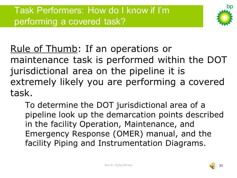 Task Performers: How do I know if I'm performing a covered task