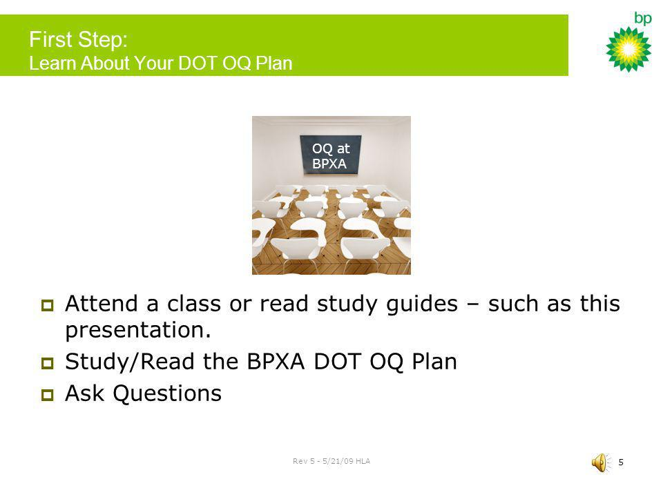 First Step: Learn About Your DOT OQ Plan