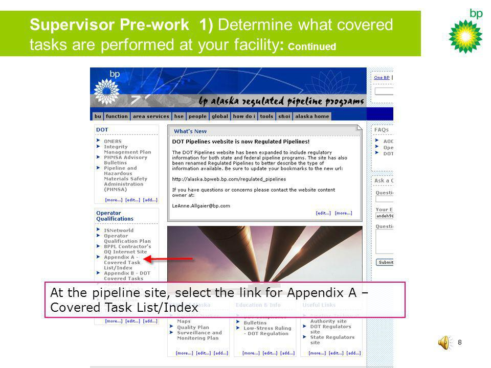 Supervisor Pre-work 1) Determine what covered tasks are performed at your facility: Continued
