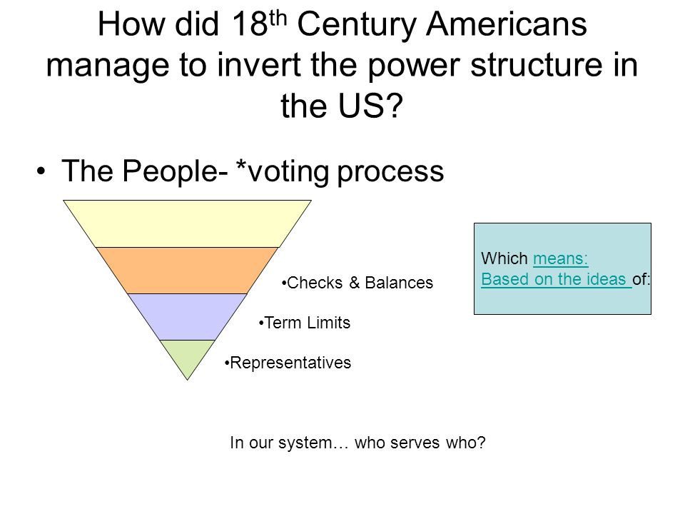 How did 18th Century Americans manage to invert the power structure in the US