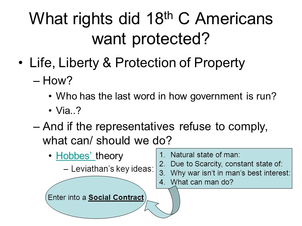 What rights did 18th C Americans want protected