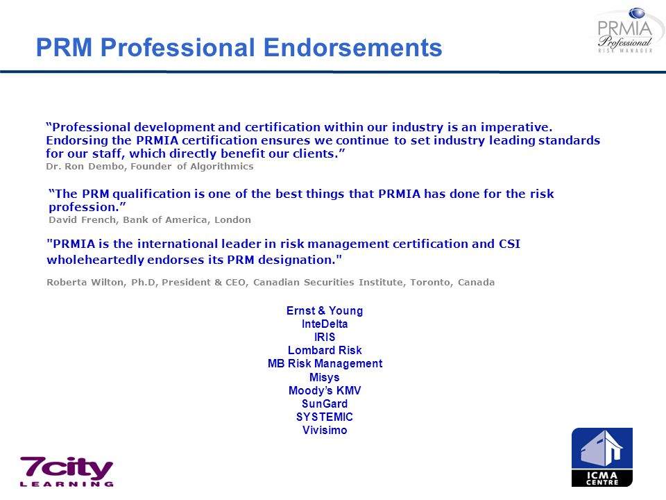 PRM Professional Endorsements