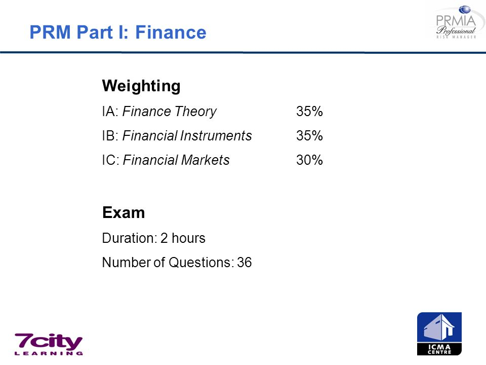PRM Part I: Finance Weighting Exam IA: Finance Theory 35%
