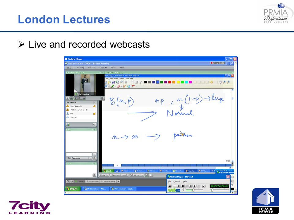 London Lectures Live and recorded webcasts