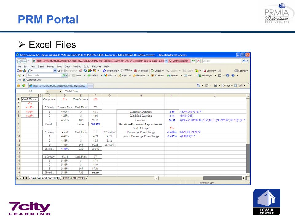 PRM Portal Excel Files