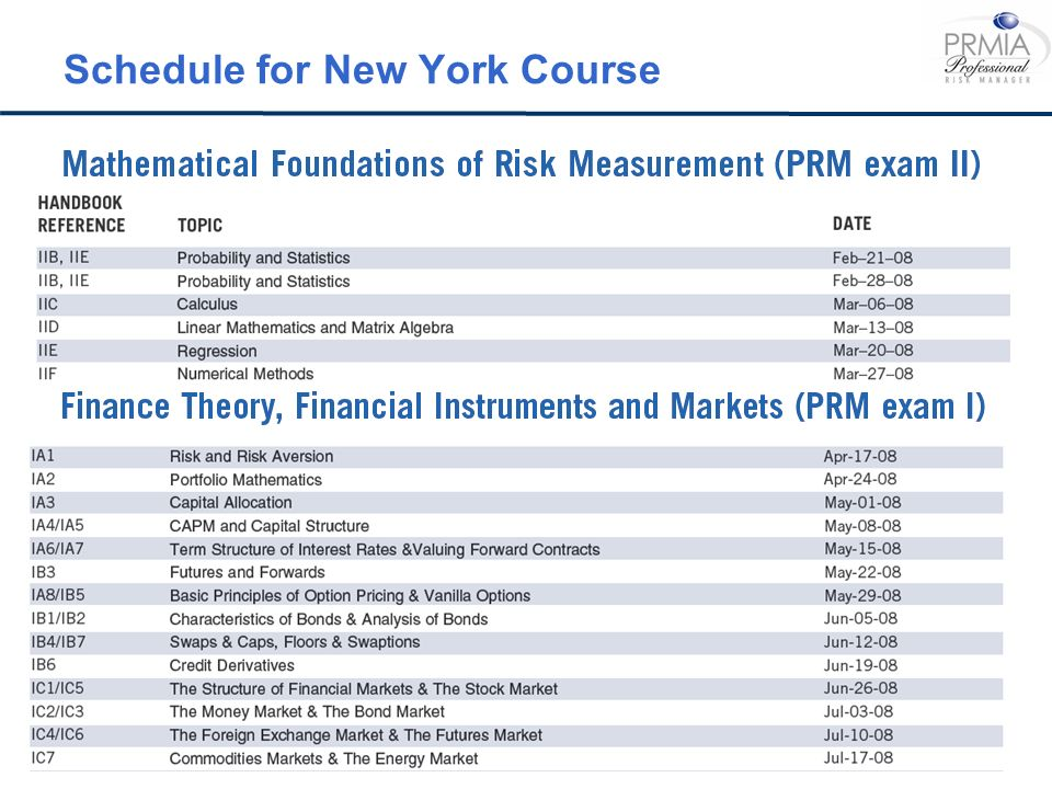 Schedule for New York Course