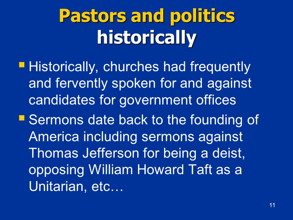 Pastors and politics historically