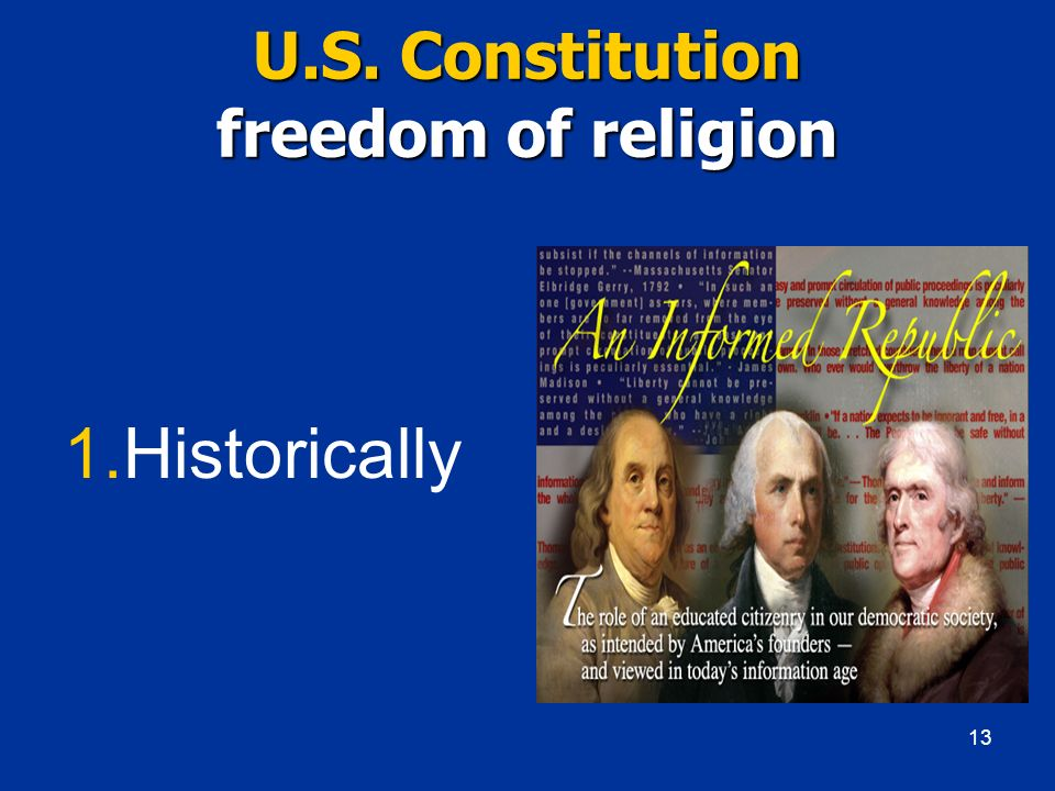 U.S. Constitution freedom of religion