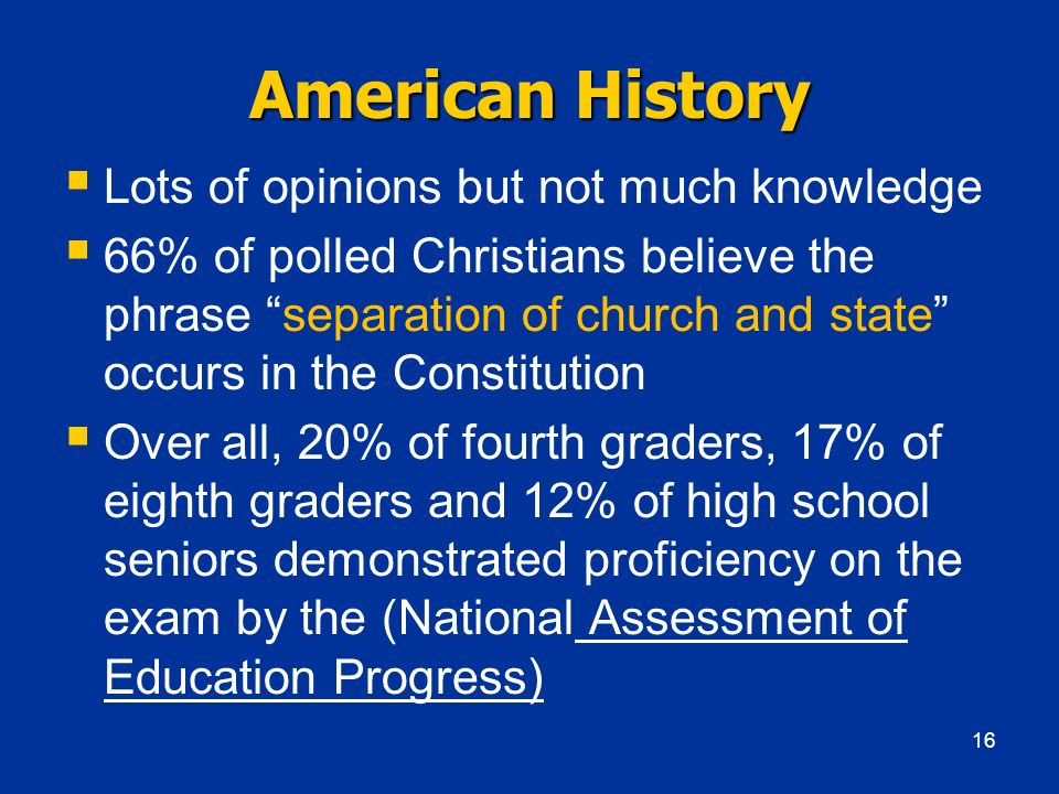 American History Lots of opinions but not much knowledge
