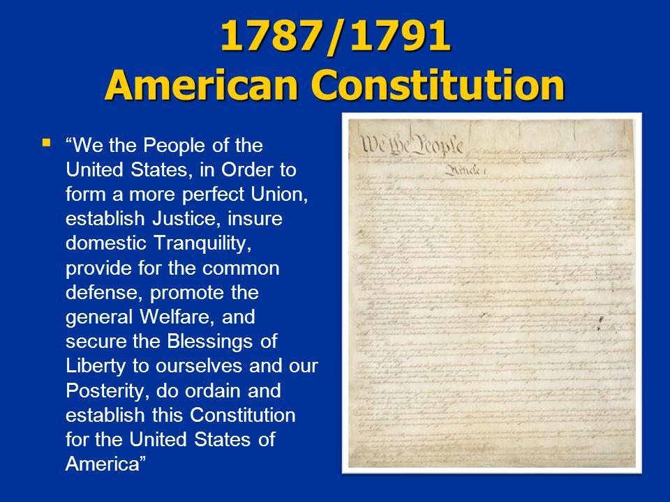 1787/1791 American Constitution