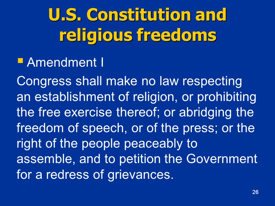 U.S. Constitution and religious freedoms