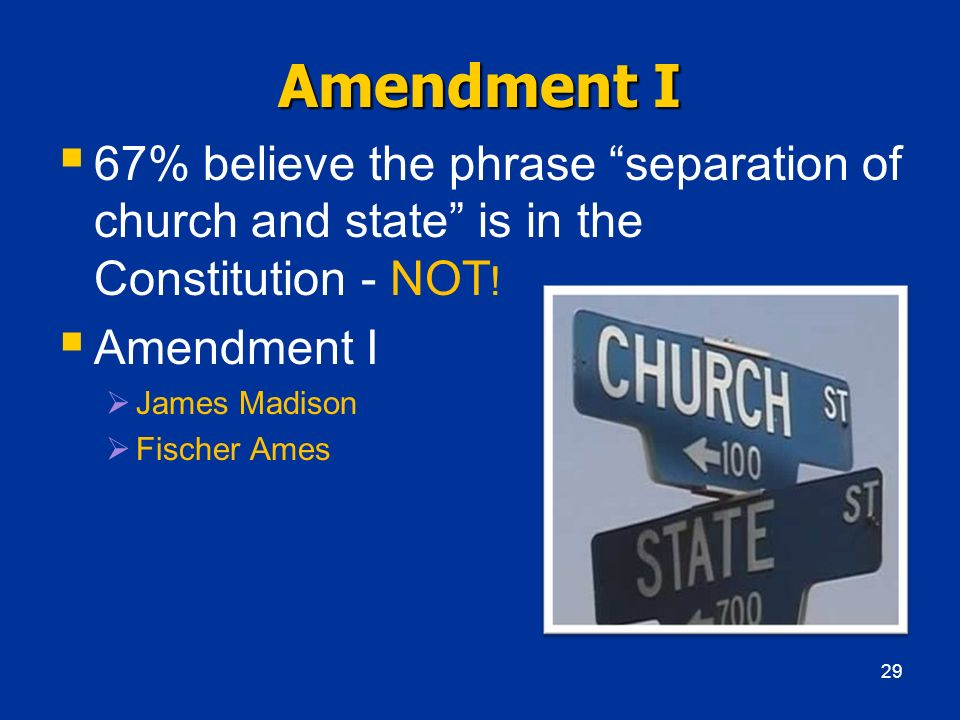 Amendment I 67% believe the phrase separation of church and state is in the Constitution - NOT! Amendment I.