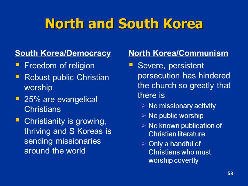 North and South Korea South Korea/Democracy North Korea/Communism