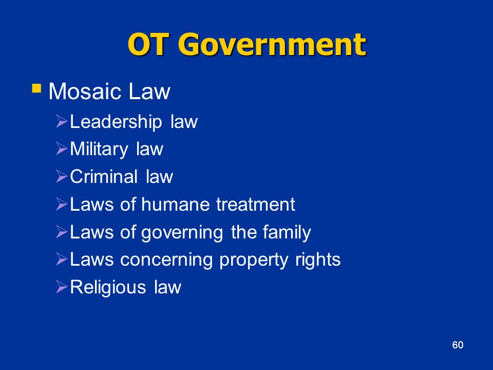 OT Government Mosaic Law Leadership law Military law Criminal law