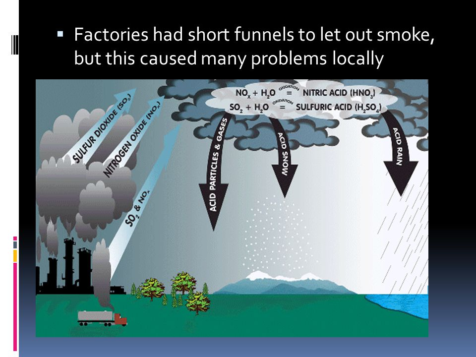 Factories had short funnels to let out smoke, but this caused many problems locally
