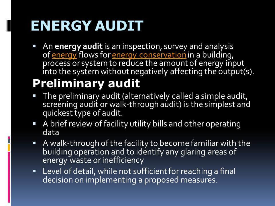 ENERGY AUDIT Preliminary audit