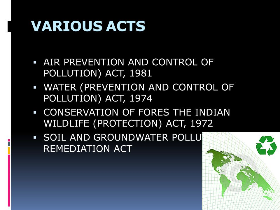 VARIOUS ACTS AIR PREVENTION AND CONTROL OF POLLUTION) ACT, 1981
