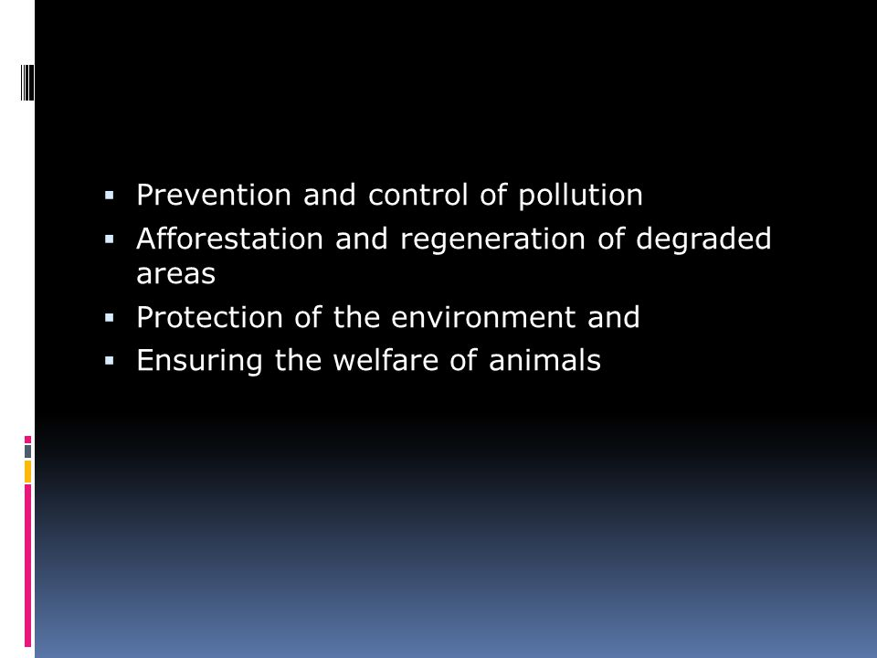 Prevention and control of pollution