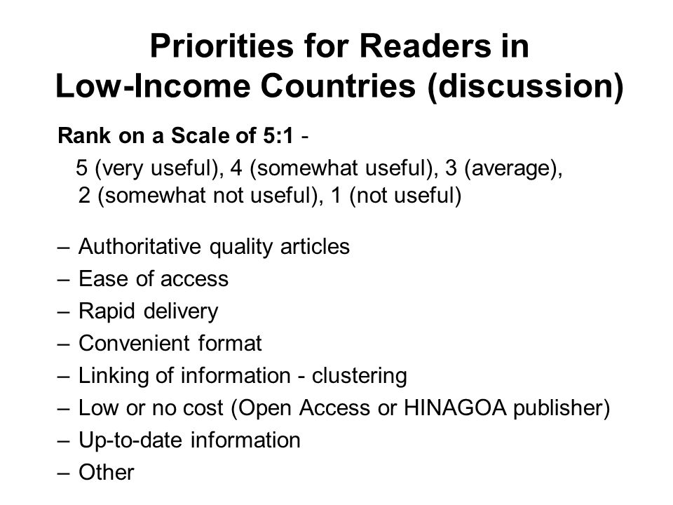 Priorities for Readers in Low-Income Countries (discussion)