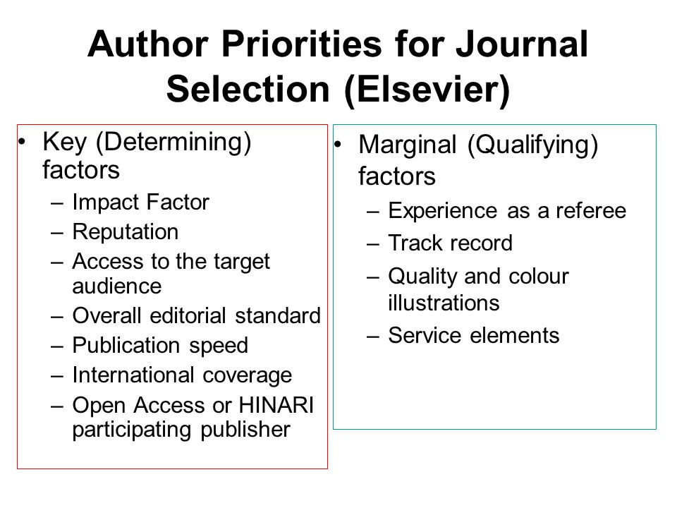 Author Priorities for Journal Selection (Elsevier)