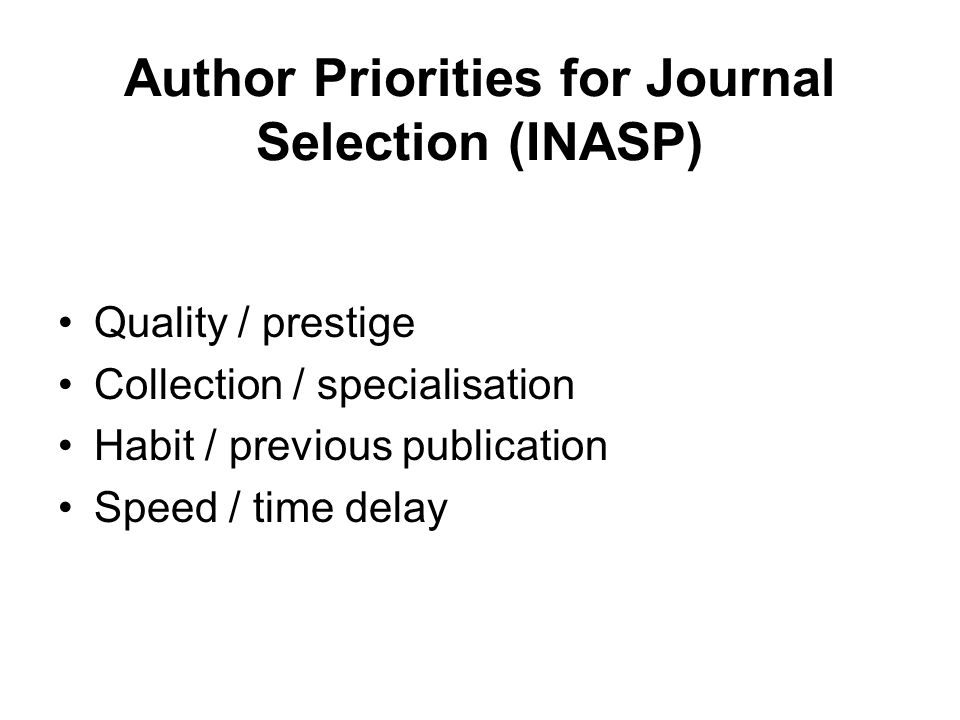 Author Priorities for Journal Selection (INASP)