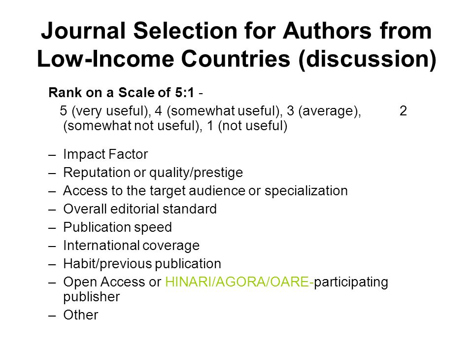 Journal Selection for Authors from Low-Income Countries (discussion)