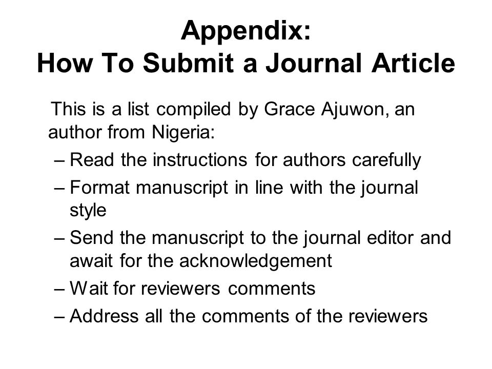 Appendix: How To Submit a Journal Article