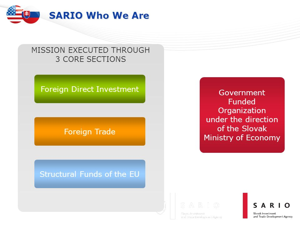 SARIO Who We Are MISSION EXECUTED THROUGH 3 CORE SECTIONS