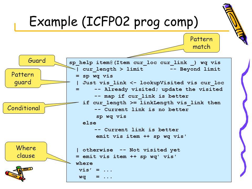 Example (ICFP02 prog comp)