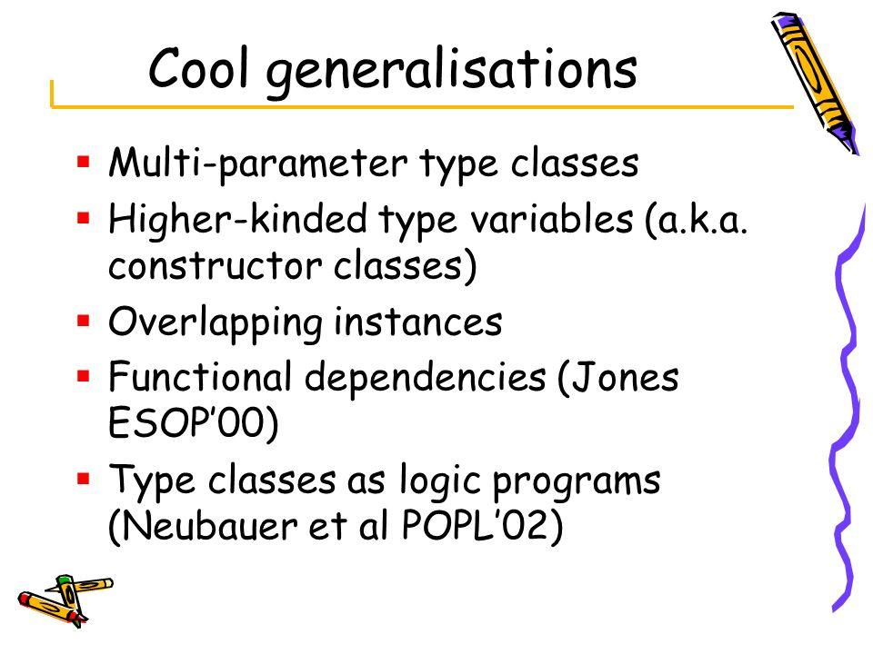 Cool generalisations Multi-parameter type classes