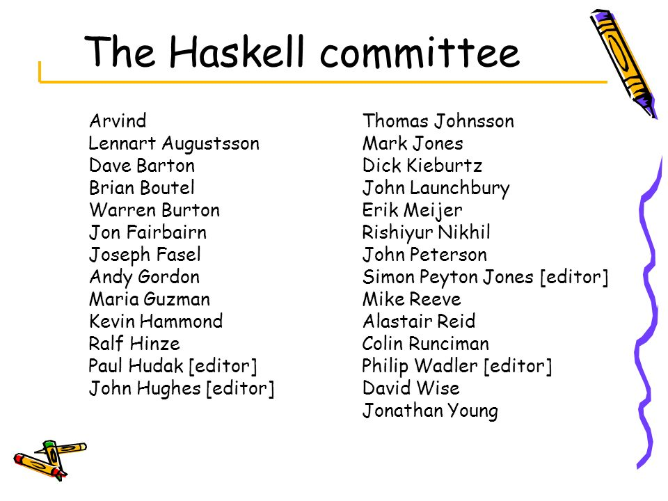 The Haskell committee Arvind Lennart Augustsson Dave Barton