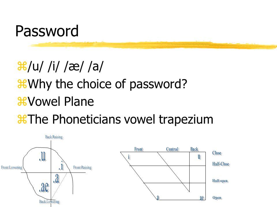 Password /u/ /i/ /æ/ /a/ Why the choice of password Vowel Plane