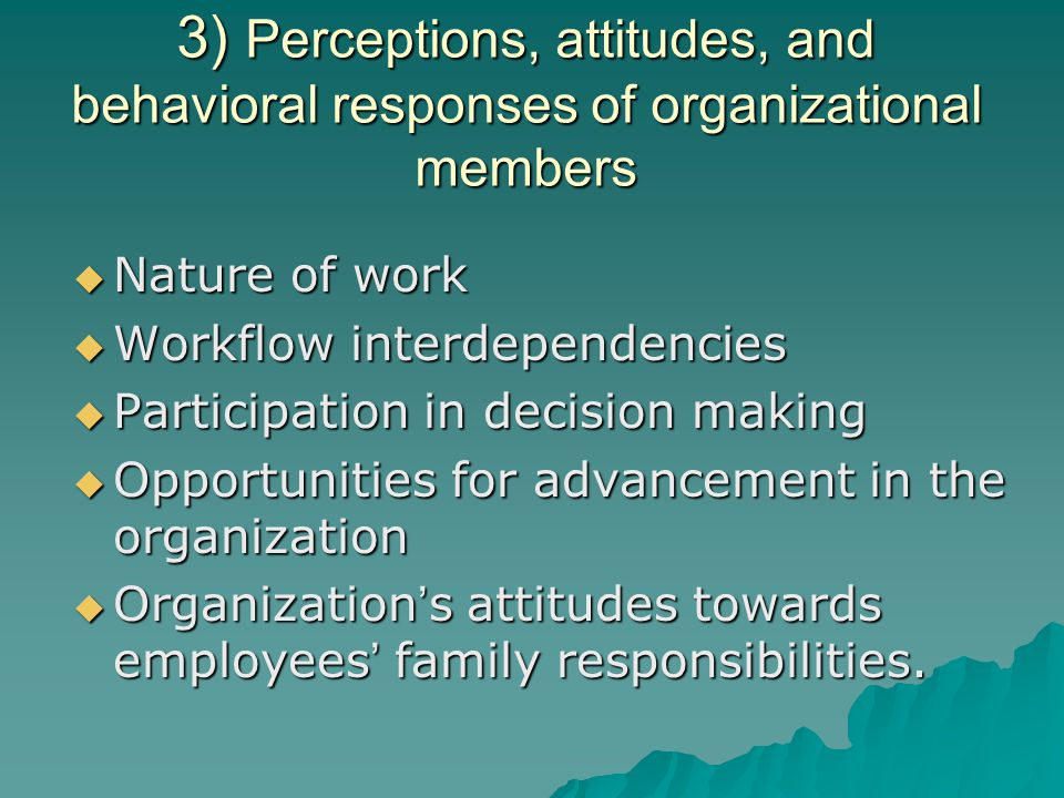 3) Perceptions, attitudes, and behavioral responses of organizational members
