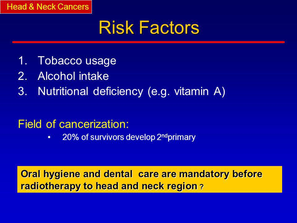 Risk Factors Tobacco usage Alcohol intake