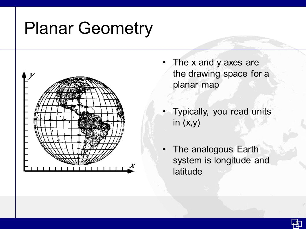 Planar Geometry The x and y axes are the drawing space for a planar map. Typically, you read units in (x,y)
