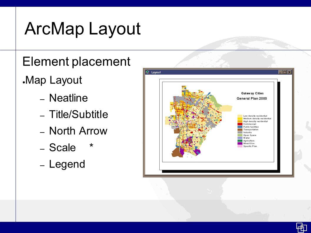 ArcMap Layout Element placement Map Layout Neatline Title/Subtitle