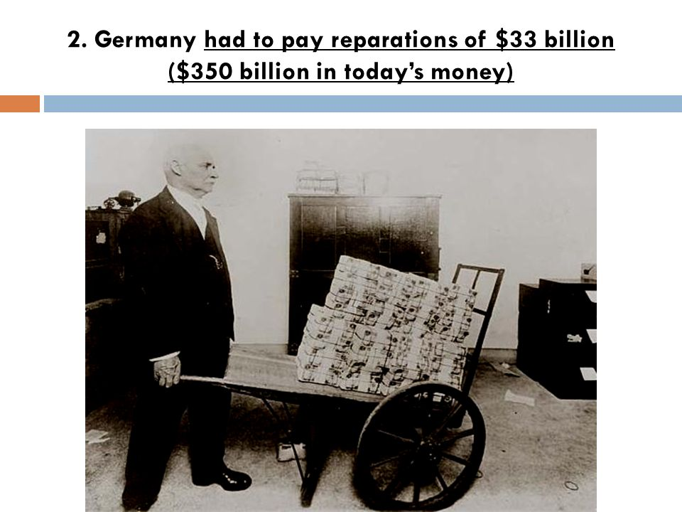 2. Germany had to pay reparations of $33 billion ($350 billion in today's money)