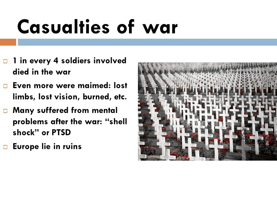 Casualties of war 1 in every 4 soldiers involved died in the war