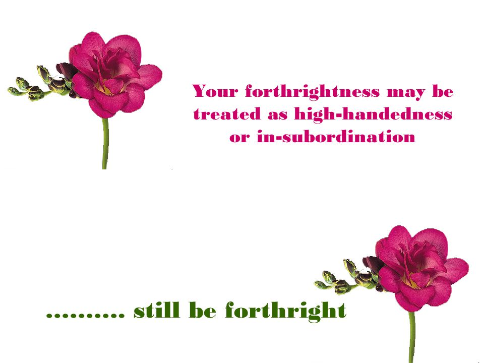 Your forthrightness may be treated as high-handedness