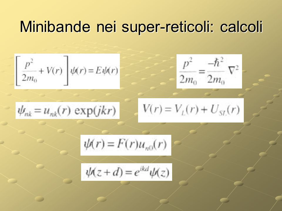 Minibande nei super-reticoli: calcoli