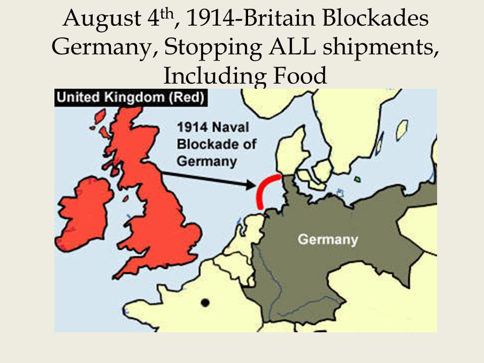 August 4th, 1914-Britain Blockades Germany, Stopping ALL shipments, Including Food
