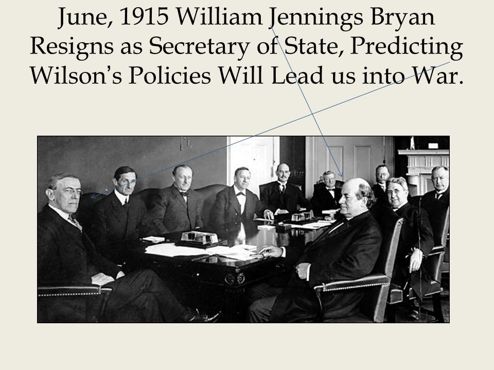 June, 1915 William Jennings Bryan Resigns as Secretary of State, Predicting Wilson's Policies Will Lead us into War.