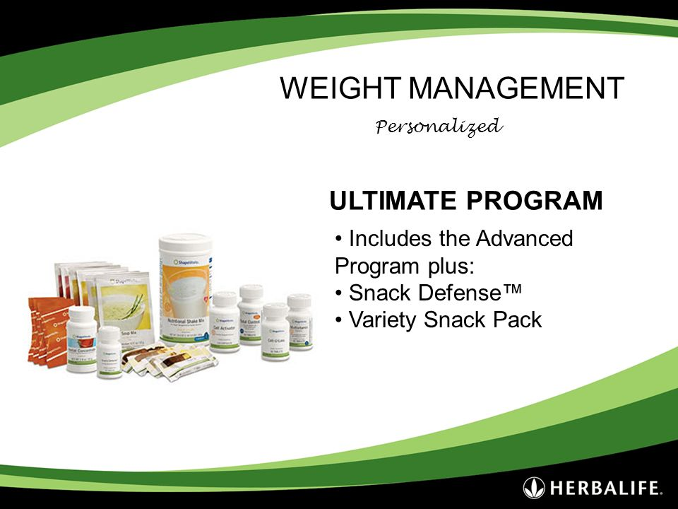 WEIGHT MANAGEMENT ULTIMATE PROGRAM Includes the Advanced Program plus: