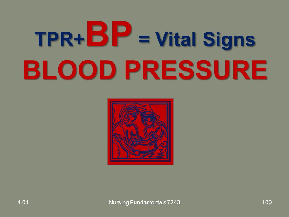 TPR+BP = Vital Signs BLOOD PRESSURE