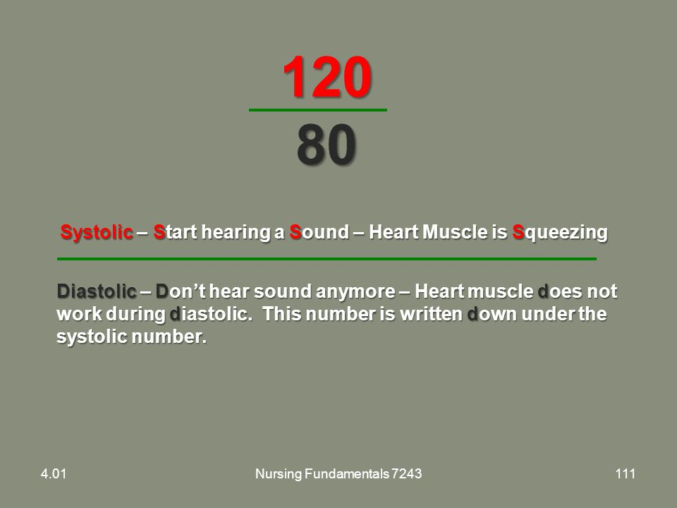 120 80 Systolic – Start hearing a Sound – Heart Muscle is Squeezing