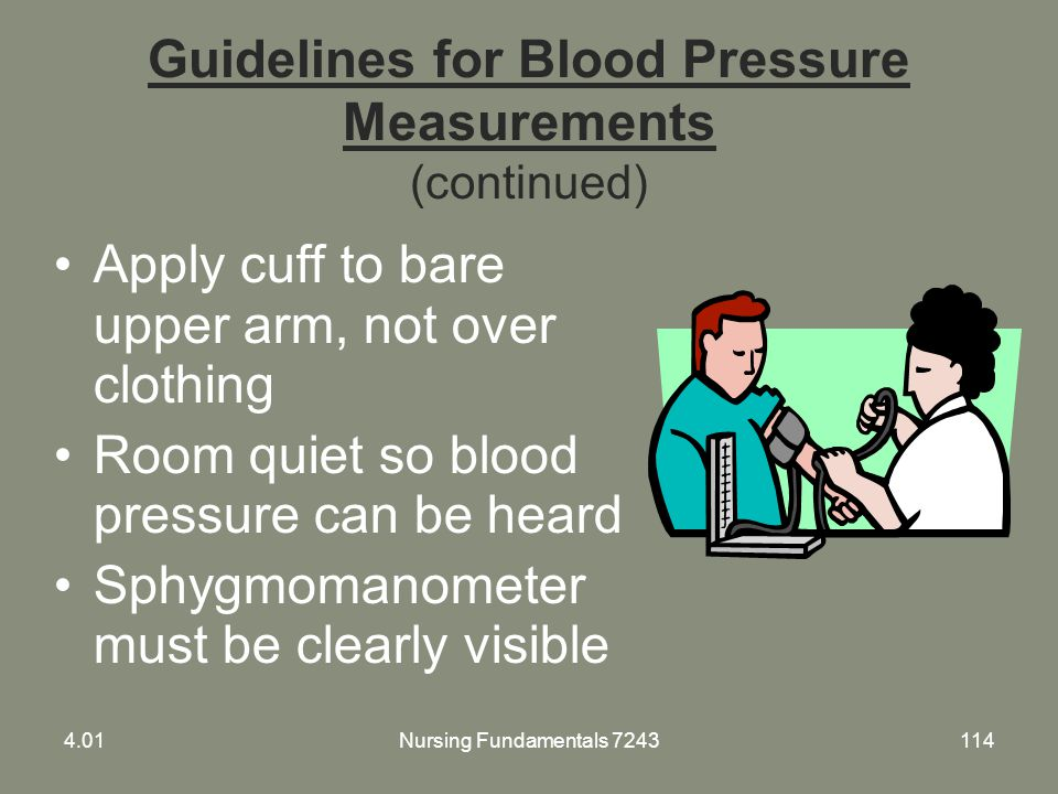 Guidelines for Blood Pressure Measurements (continued)