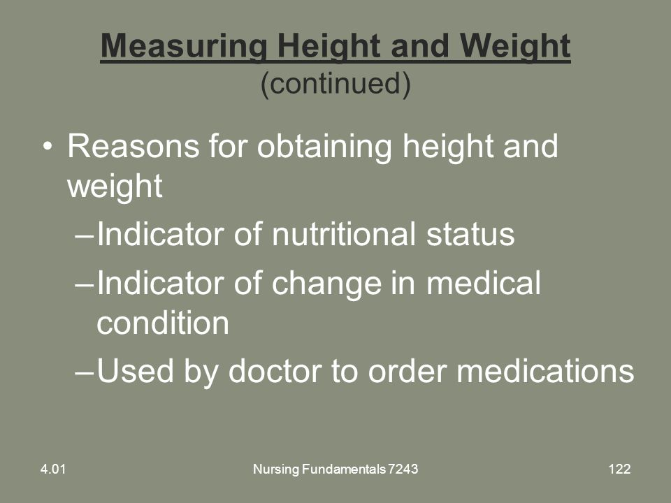 Measuring Height and Weight (continued)