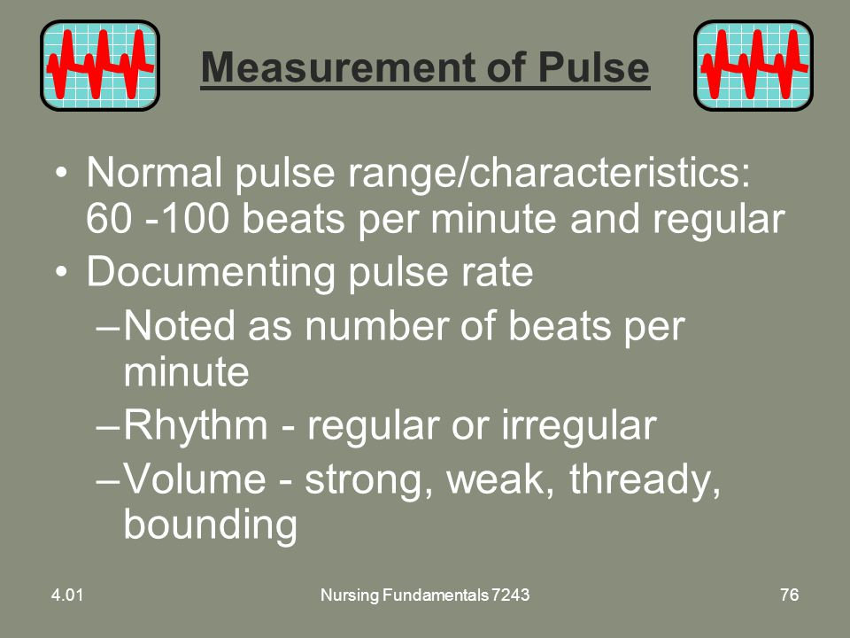 Documenting pulse rate Noted as number of beats per minute