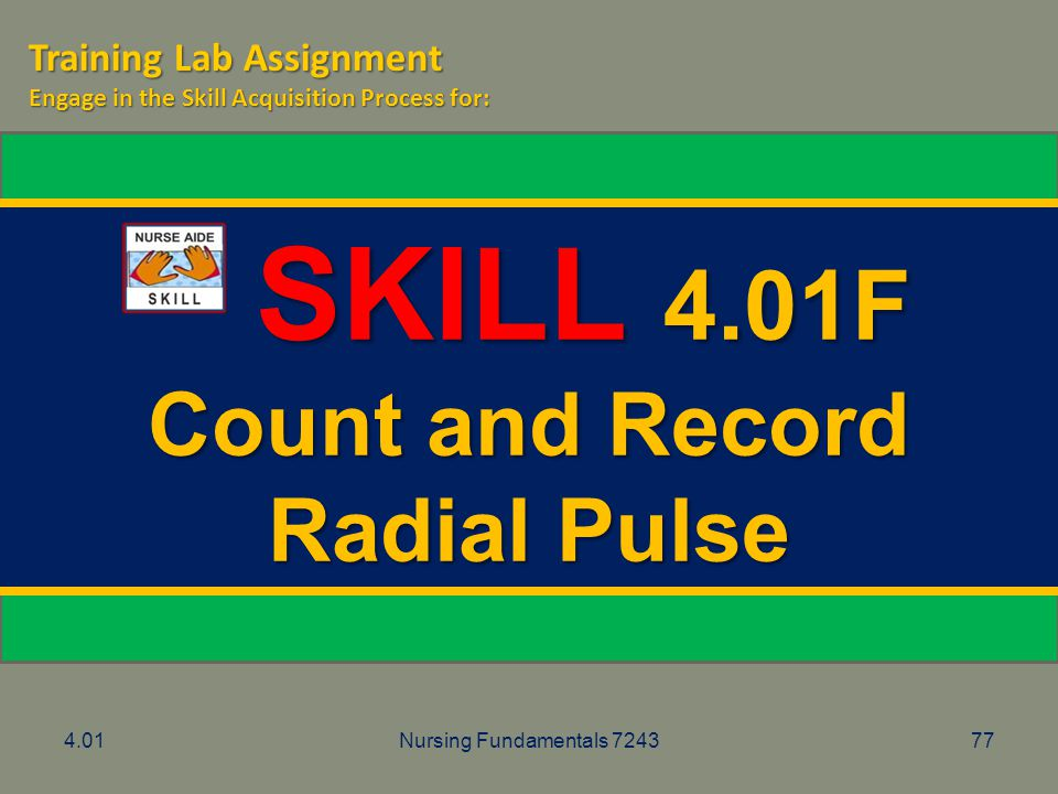 SKILL 4.01F Count and Record Radial Pulse Training Lab Assignment