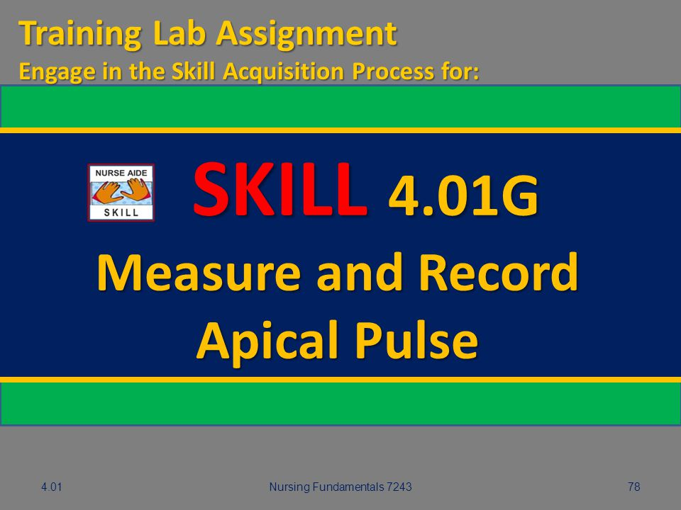 SKILL 4.01G Measure and Record Apical Pulse Training Lab Assignment